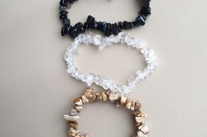 Trio de bracelet onyx – jaspe beige – cristal de roche à 10 euros jusqu 'au 30 septembre 2019